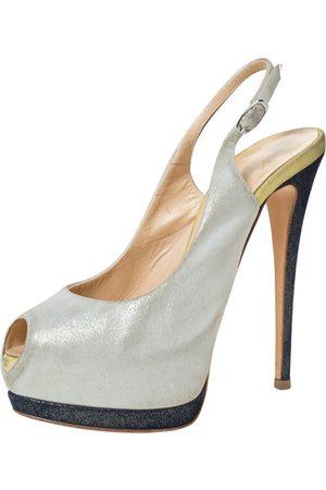 Giuseppe Zanotti Guiseppe Zannotti Tri Color Nubuck Peep Toe Slingback Platform Sandals Size 36.5