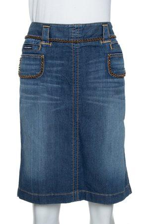 Dolce & Gabbana Blue Denim Chain Detail Fitted Skirt M