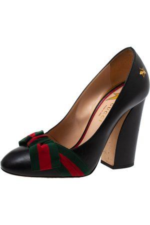 Gucci Black Leather Web Bow Block Heel Pumps Size 36
