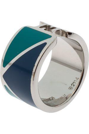 Fendi The sta Bicolor Enamel Silver Tone Band Ring M