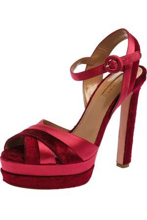Aquazzura Pink Satin And Velvet Coquette Platform Ankle Strap Sandals Size 38