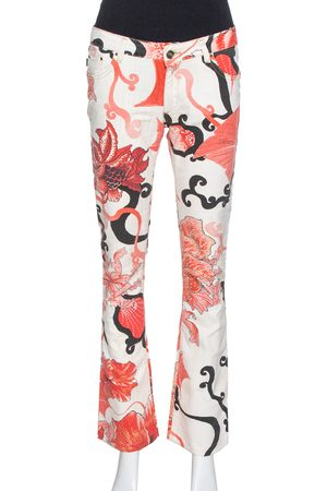 Roberto Cavalli Red Floral Print Cotton Flared Jeans M