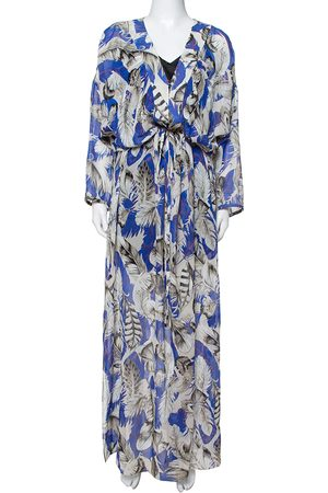 Roberto Cavalli Blue Feather Print Silk Maxi Kaftan M