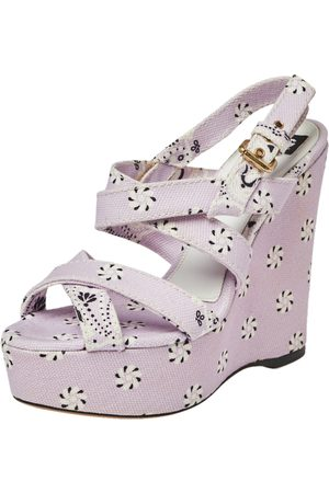 Dolce & Gabbana Purple Floral Print Canvas Wedge Platform Slingback Sandals Size 38