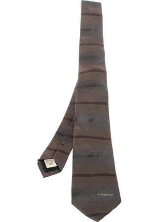 Burberry Metallic Ombre Brown Stripe Silk Tie