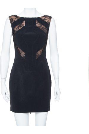 Elie saab Black Crepe Lace Detail Sheath Dress S
