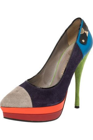 VERSACE Multicolor Block Suede and Leather Pointed Toe Platform Pumps Size 36.5