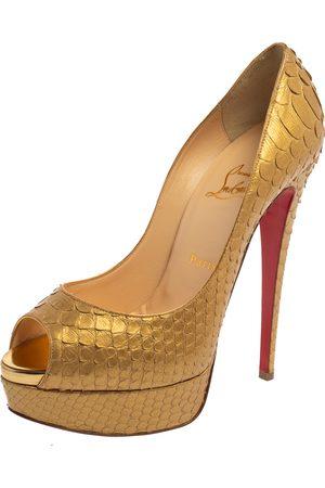 Christian Louboutin Gold Python Lady Peep Toe Platform Pumps Size 38.5