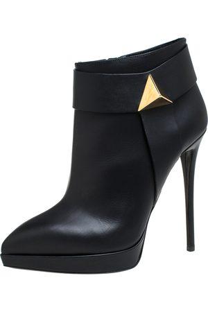 Giuseppe Zanotti Black Leather Platform Ankle Booties Size 41