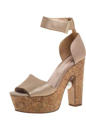 Nicholas Kirkwood Beige Satin Platform Sandals Size 37