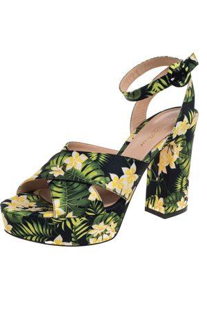 Gianvito Rossi Multicolor Printed Floral Satin Cross Strap Platform Sandals Size 39