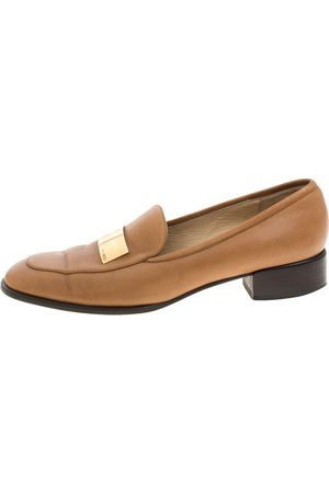 Gucci Brown Leather Gold-Tone Logo Plate Block Heel Loafer Pumps Size 37.5