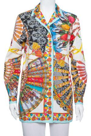 Dolce & Gabbana Dolce and Gabbana Multicolor Floral Fans Printed Cotton Poplin Shirt XS