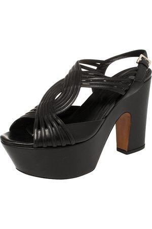 Sergio Rossi Black Leather Platform Sandals Size 39