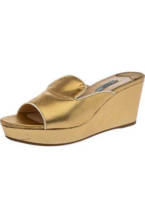 Prada Metallic Gold Saffiano Leather Wedge Platform Slide Sandals Size 41.5