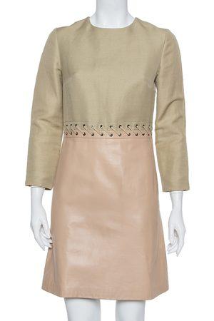 Chloé Beige Linen & Leather Long Sleeve Dress S