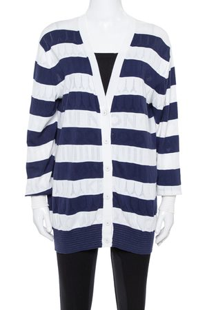 Kenzo Navy Blue Striped Logo Patterned Knit Cardigan S