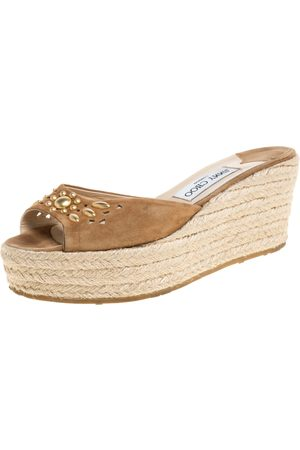 Jimmy Choo Brown Cut out Suede Embellished Platform Wedges Size 39