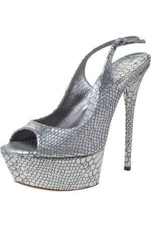 Casadei Silver Python Embossed Leather Peep Toe Platform Slingback Sandals Size 37