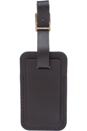 LOUIS VUITTON Dark Brown Leather Luggage Name Tag
