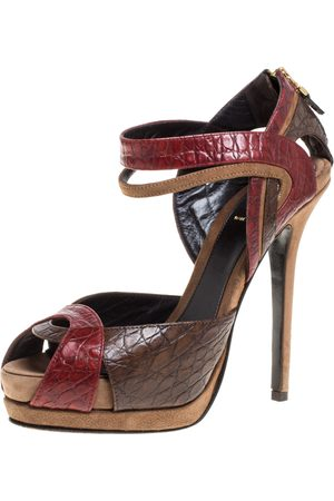 Fendi Multicolor Croc Embossed Leather Platform Sandals Size 38