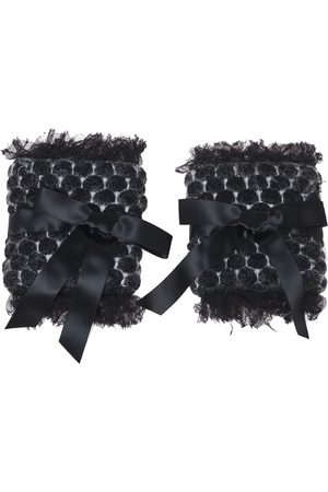 CHANEL Dark Grey Wool Mohair Blend Armbands