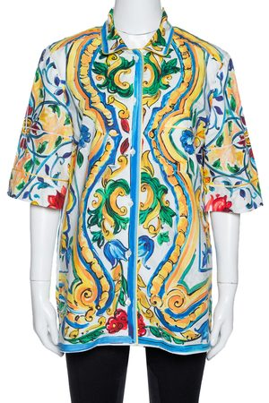 Dolce & Gabbana Multicolor Majolica Print Cotton Oversized Shirt M