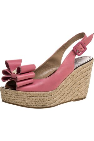 VALENTINO Pink Leather Studded Bow Espadrille Platform Wedge Sandals Size 38