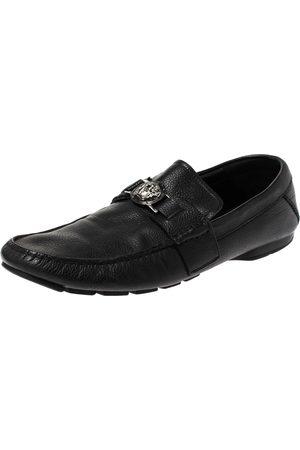 VERSACE Black Leather Medusa Detail Slip On Loafers Size 43