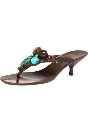Miu Miu Brown Leather Beaded Thong Sandals Size 37