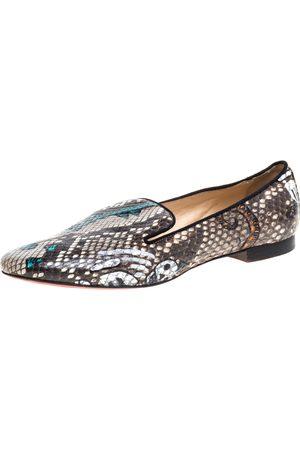 Christian Louboutin Brown Python Smoking Slippers Size 39.5