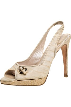 Dior Beige Croc Embossed Leather Platform Slingback Sandals Size 39.5