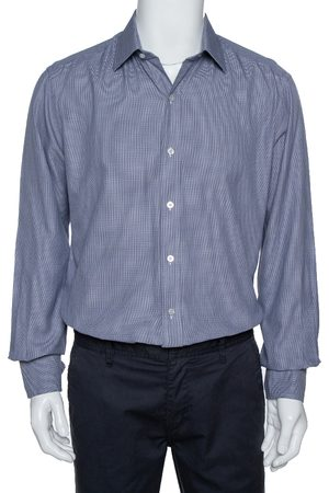 Tom Ford Navy Blue Micro Patterned Cotton Long Sleeve Shirt XXL