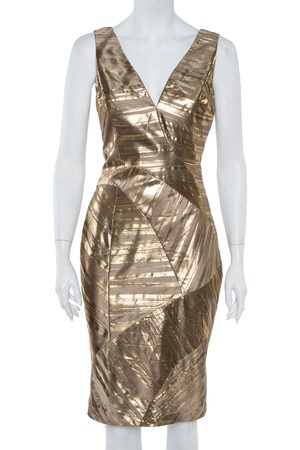 VERSACE Gold Foil Print Silk Sleeveless Sheath Dress M
