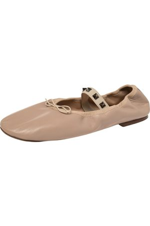 VALENTINO Beige Leather Rockstud Mary Jane Bow Ballet Flats Size 39