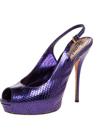 Gucci Purple Python Leather Sofia Platform Peep Toe Slingback Sandals Size 37
