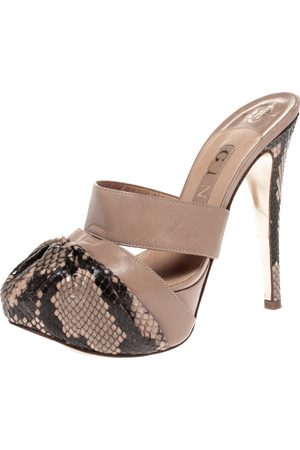 Gina Brown/Beige Python Leather Platform Sandals Size 37