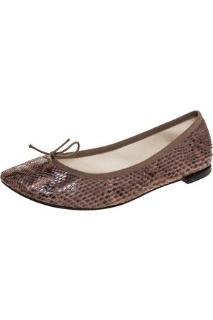 Repetto Brown Python Leather Bow Ballet Flats Size 41