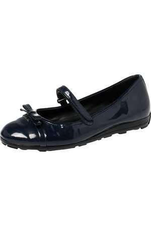 Prada Blue Patent Leather Mary Jane Bow Ballet Flats Size 35