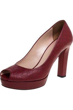 Gucci Red Microssima Leather Peep Toe Platform Pumps Size 37