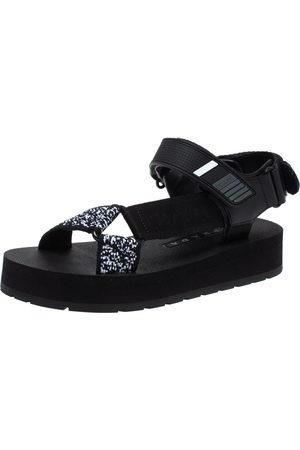 Prada Black Canvas, Rubber and Leather Trim Jacquard Logo Platform Sandals Size 35