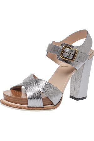 Tod's Silver Leather Platform Ankle Strap Block Heel Sandals Size 37.5