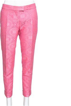 Stella McCartney Neon Pink Cotton Jacquard Tapered Pants S