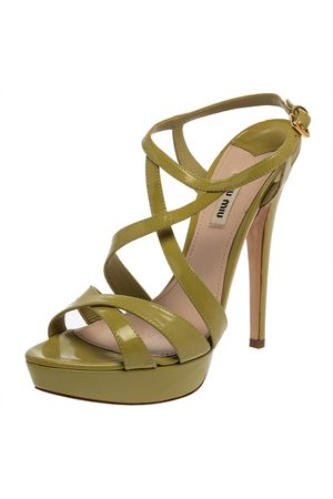 Miu Miu Green Patent Leather Criss Cross Ankle Strap Platform Sandals Size 41.5