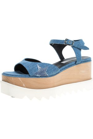 Stella McCartney Blue Denim Fabric Elyse Platform Ankle Strap Sandals Size 39.5