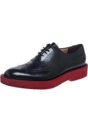 Salvatore Ferragamo Black Brogue Leather Thierry Oxfords Size 44