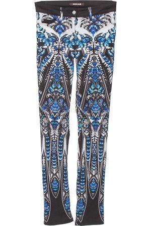 Roberto Cavalli Blue Cotton Printed Flared Bottom Jeans S
