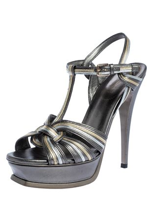 Saint Laurent Tri Color Leather Tribute Platform Sandals Size 39