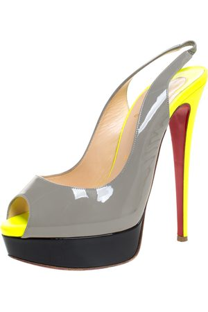 Christian Louboutin Colorblock Patent Leather Lady Peep Toe Slingback Sandals Size 38