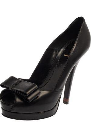 Fendi Black Leather Deco Bow Peep Toe Platform Pumps Size 40
